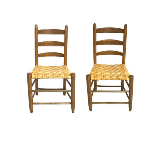 Sturdy vintage condition - Antique Ladder Back Side Chairs, Set Of 2 Barnesestatefinds