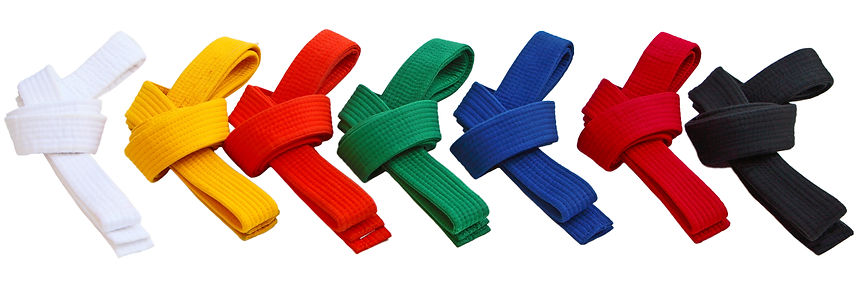 A row of different color karate belts