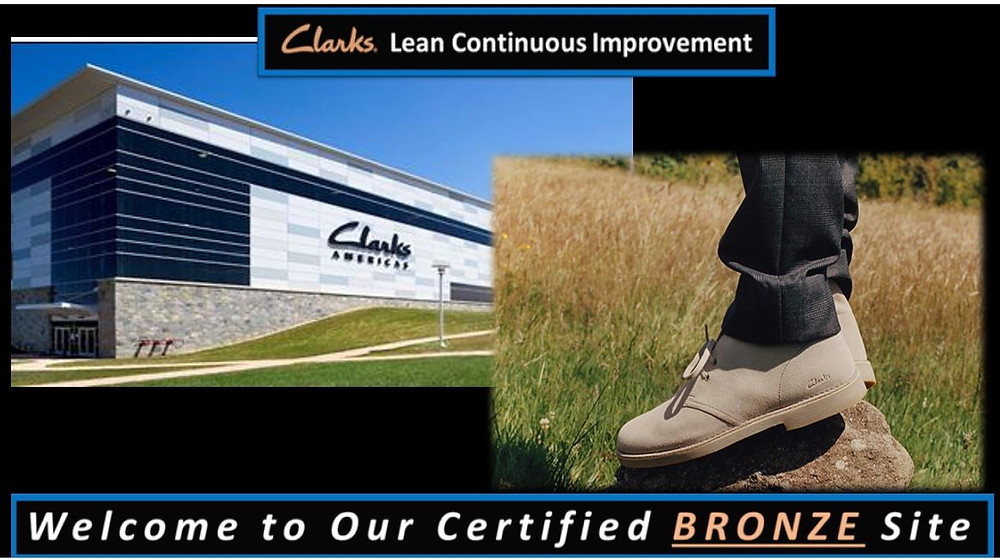 Clarks facility and a photo of Clarks tan shoes