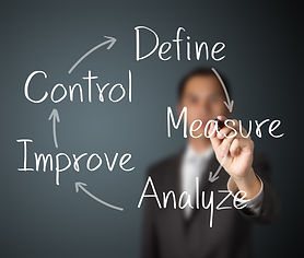 man writes define control measure analyze and improve with arrows making a circle