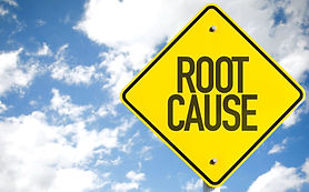 yellow sign that says root cause