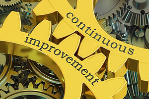 Gold gears with the words continuous improvement