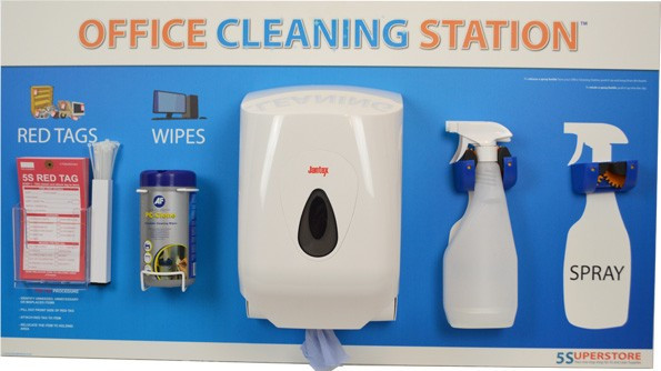 a cleaning station with wipes and sprays