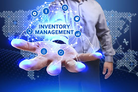 illustration of man holding icons that represent inventory management