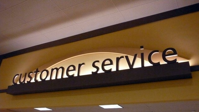 sign that says customer service