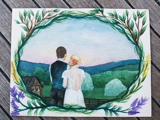 There's something special about capturing the love between two people ❤️A surprise custom wedding watercolor portrait painted for one of my_