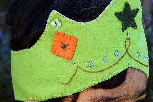 Coroa verde clara/losango laranja