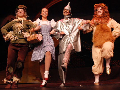 The Scarecrow, Dorothy, the Tin Man, and the Cowardly Lion