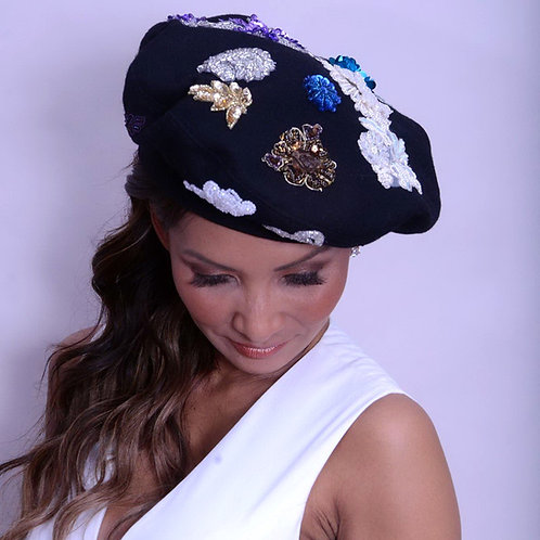 Black Wool Beret with Appliques