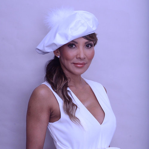 White leather beret with marabou
