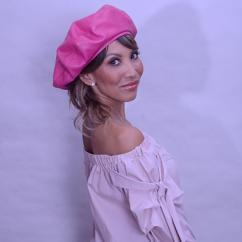 Fuchsia Leather Beret
