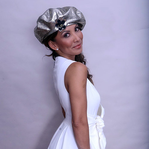 Silver Leather Beret