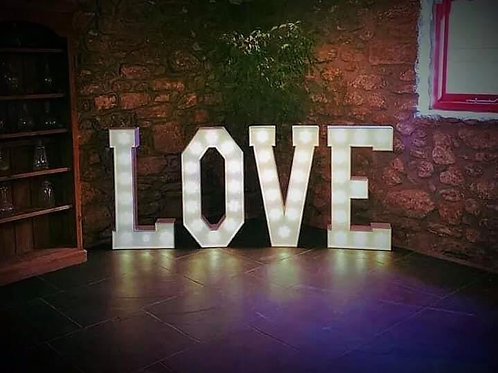 Large Light Up Love Lights White