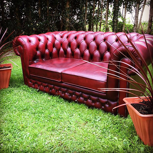 OX-BLOOD LEATHER 2 SEATER CHESTERFIELD SOFA