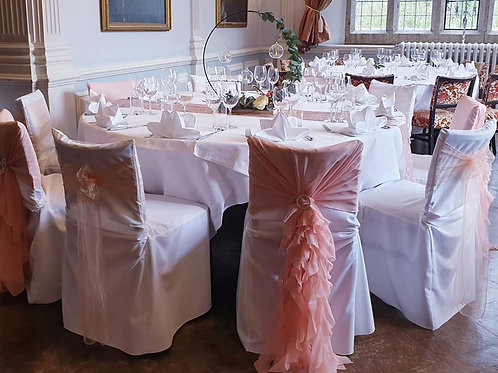 CHAIR COVERS/SASHES/HOODS/BANDS/TABLE RUNNERS