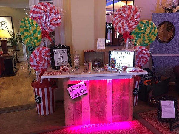 Colemans Event Hire Sweet Bar and Giant Looly Props
