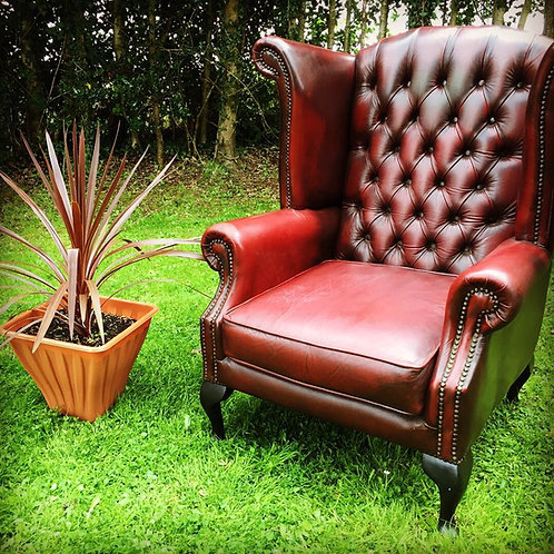 OX-BLOOD LEATHER SMOKERS CHAIR