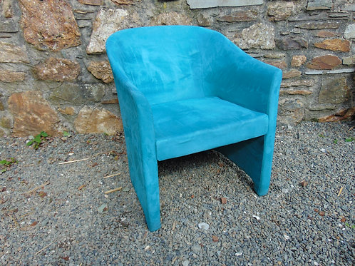 LIGHT BLUE SUEDE TUB CHAIR