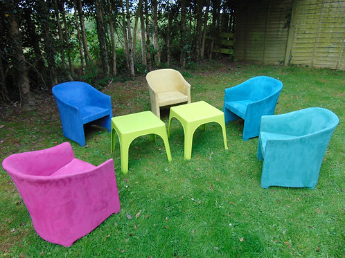 SET OF 5 COLOURFUL SUEDE TUB CHAIRS