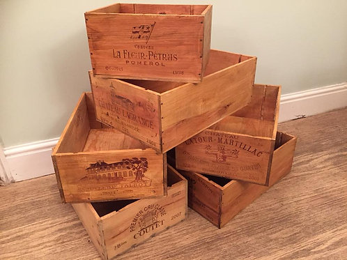 VINTAGE WOODEN WINE BOXES x6