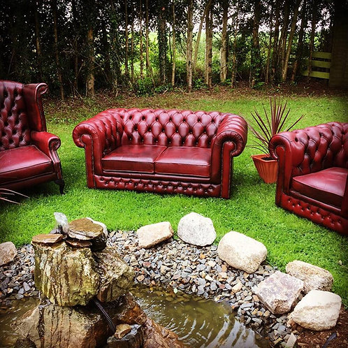 OX-BLOOD LEATHER CHESTERFIELD COMPLETE SUITE