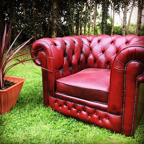 OX-BLOOD LEATHER ARMCHAIR