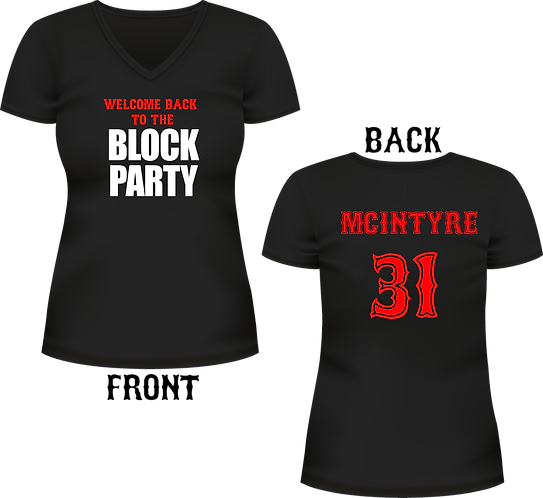 Block Party / Last Name on back