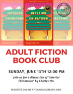 """Adult Fiction Book Club: """"Interior Chinatown"""""""