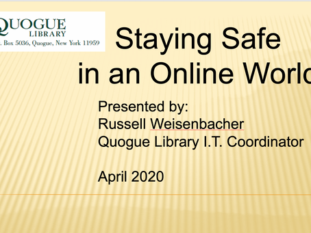 Quogue Library's FIRST TECH VIDEO is up!!