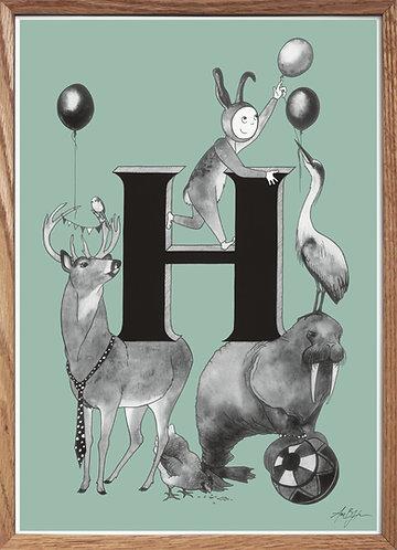 Bogstavplakat - H