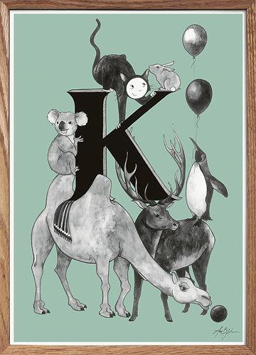 Bogstavplakat - K