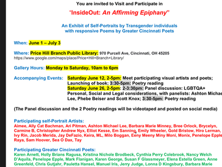I WILL BE READING ON JUNE 26TH AS PART OF THE NEWEST EXHIBIT OF THE INSIDE OUT TRANS ART PROJECT