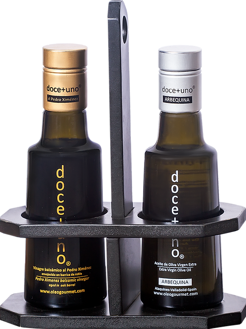 Elegante combo de madera para botellas de 250 ml