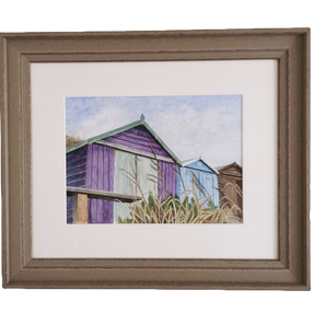 Beach Hut by the sea - by Sue £135 Unfrmaed £90