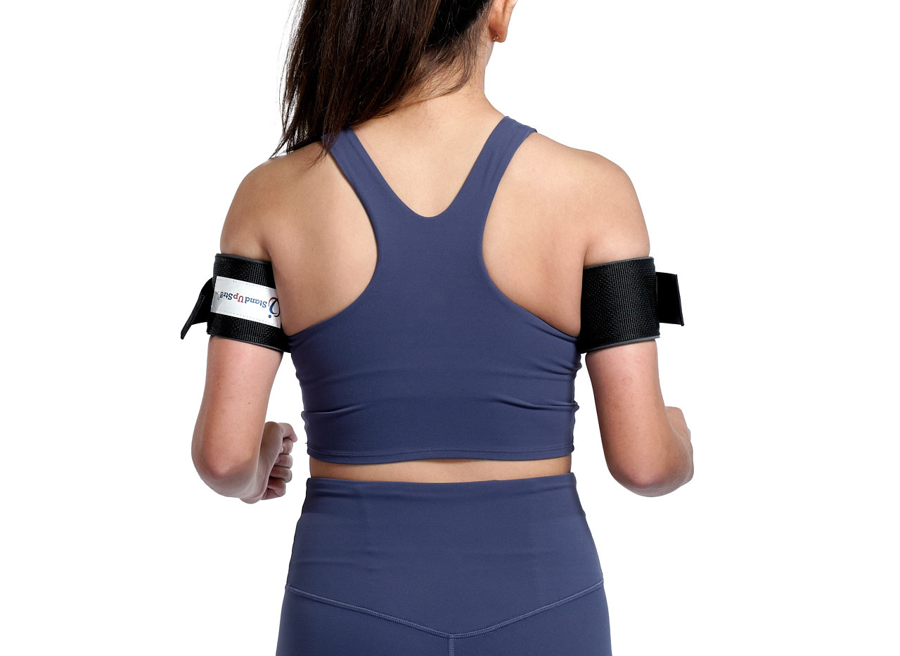 Back view of device assisted exercise