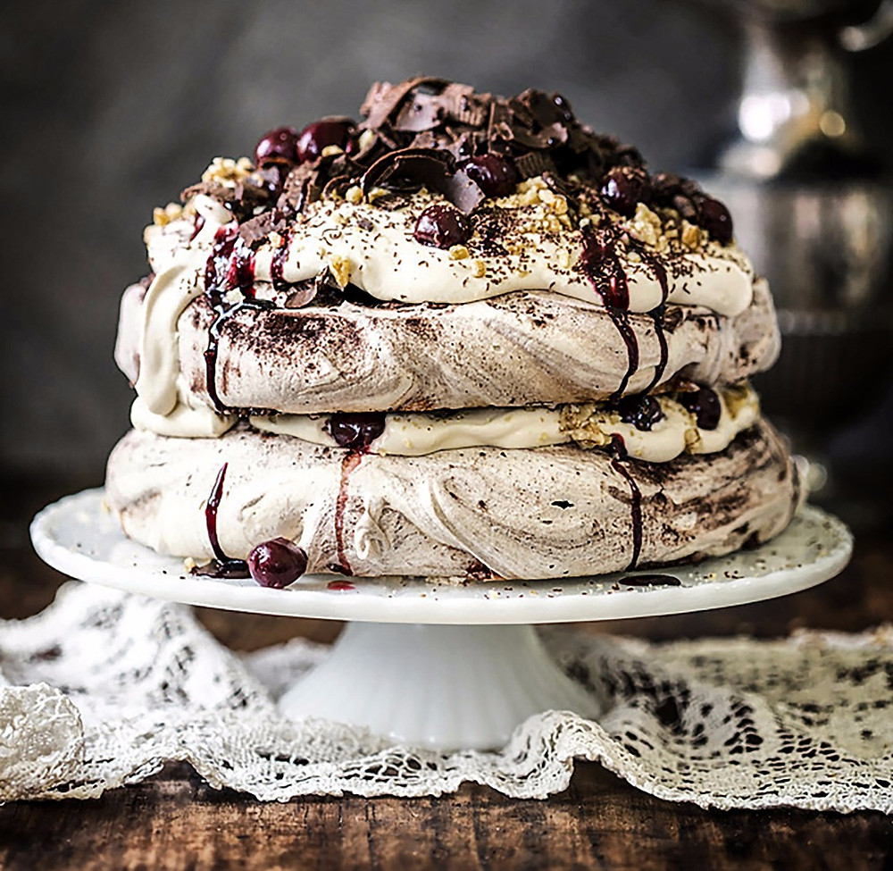 Black Forest Pavlova With Espresso Cream