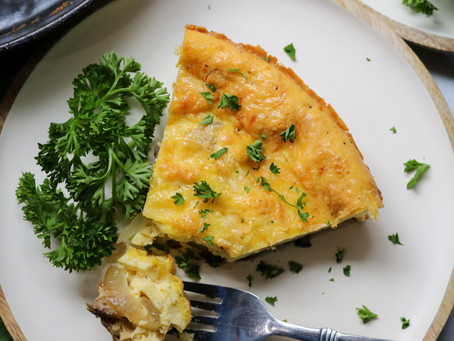 Caramelized Onion and Shiitake Frittata with Havarti Cheese