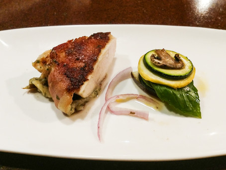 Bacon-Wrapped Parmesan Chicken, Mock Ratatouille and Pickled Shallots