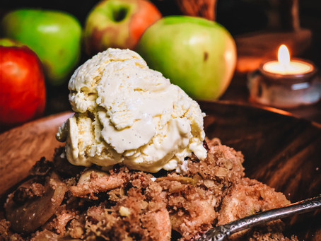 Apple Crisp and Homemade Vanilla Bean Ice Cream