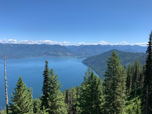 """View of Lake Pend Oreille from """"Puke Hill"""" near sandpoint. 500 feet of elevation gain in 1 mile with some down hills on the way to the top."""