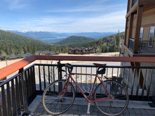 My bike with Lake Pend Oreille the background at Sweitzer mountain resort.