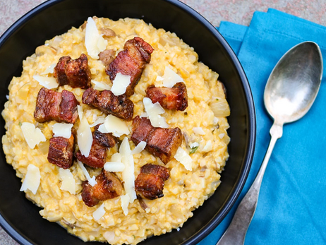 Butternut Squash Risotto with Crispy Pork Belly