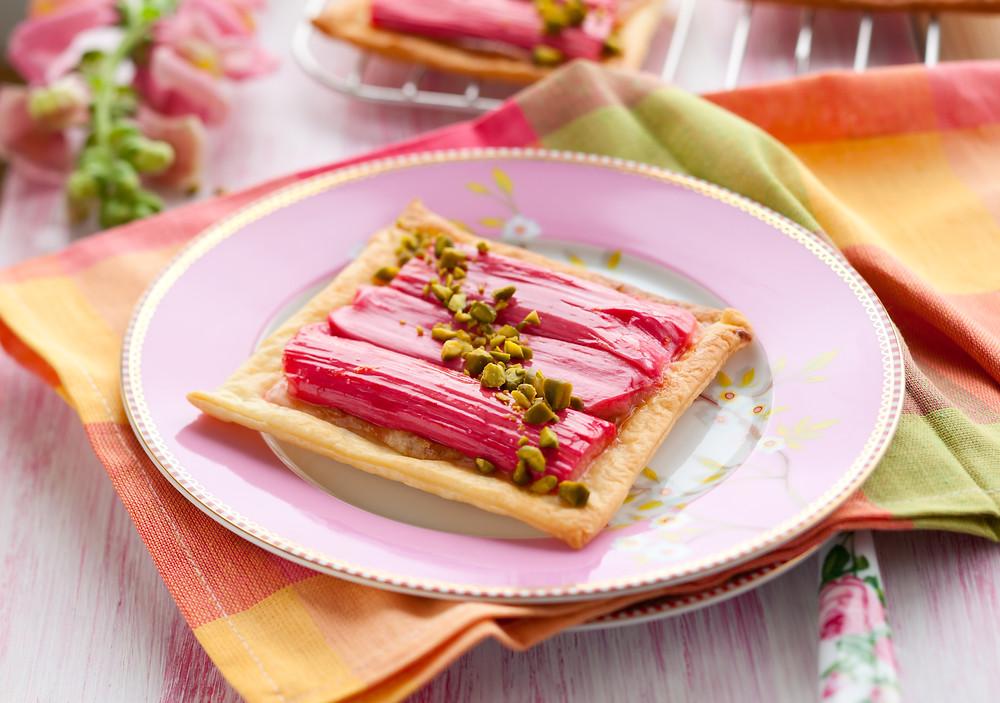 Roasted Rhubarb & Marzipan Tart