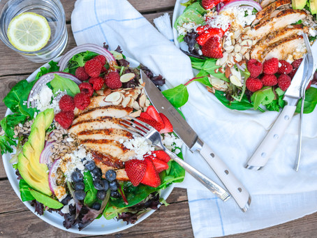 Triple Berry Chicken Summer Salad with Balsamic Dressing