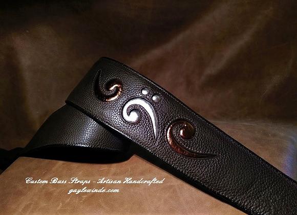 Dark Brown Bass Strap w/Metallic Bass Clef Inlay & Accent