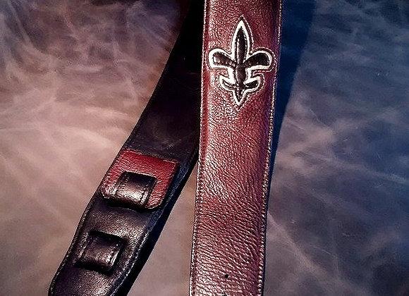 Custom Fleur-de-Lis Leather Guitar Strap