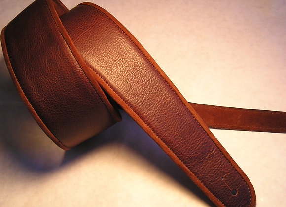 Solid Color Strap w/Leather Trimmed Edge & Leather Lining