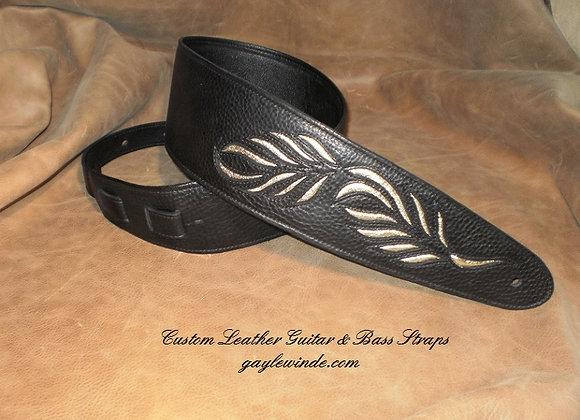 Black Leather Strap w/ Inlaid Exotic Leaf Design