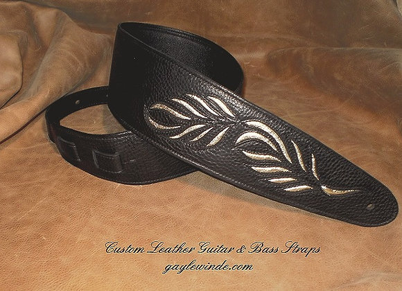 Black Leather Strap w/ Inlaid Exotic Leaf Design