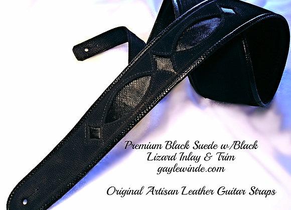 Luxurious Black Nubuck Guitar Strap w/ Teju Lizard Inlay & Trim